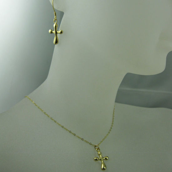 18k Gold plated over Sterling Silver Vermeil Jewelry Set- Fancy Cross