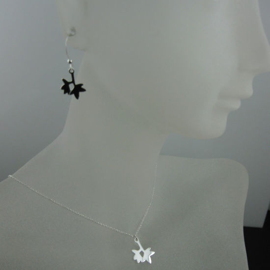 925 Sterling Silver Jewelry Set- Double Leaf Charm