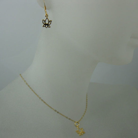 18k Gold plated over Sterling Silver Vermeil Jewelry Set- Lotus Flower