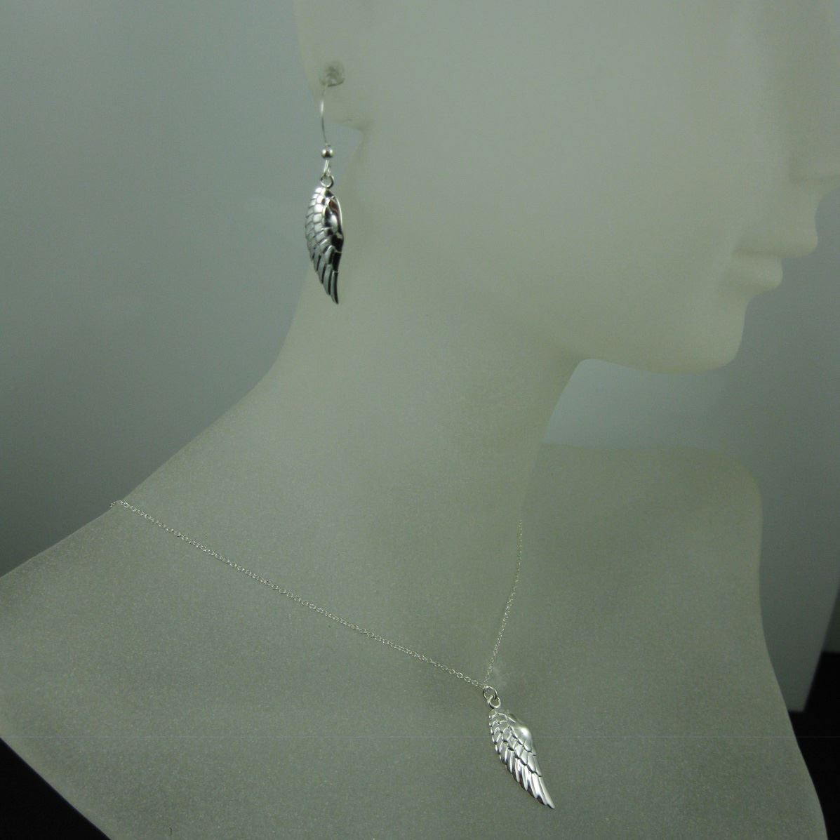 925 Sterling Silver Jewelry Set-Right Wing Pendant