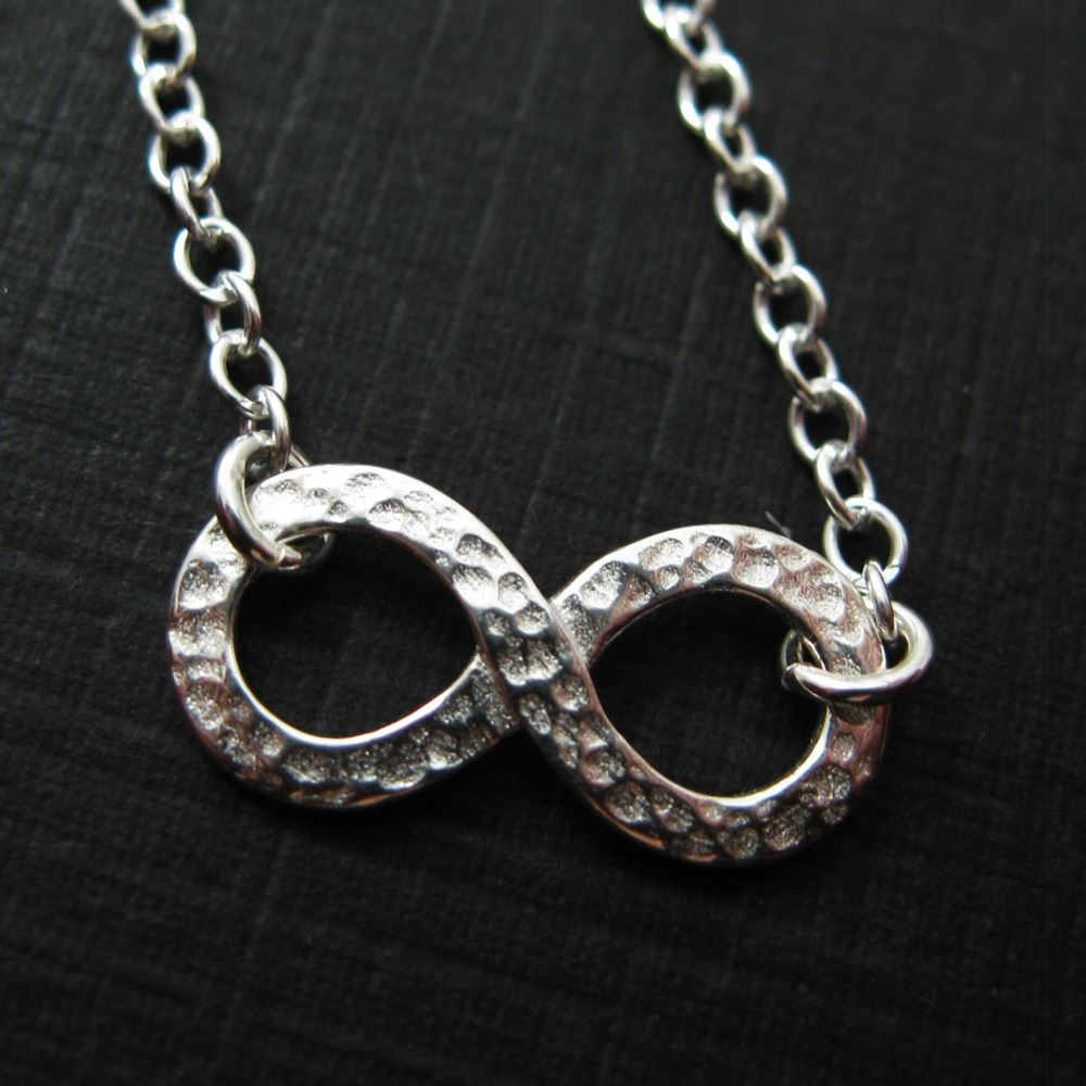 925 Sterling Silver Jewelry Set-Hammered Infinity Charm