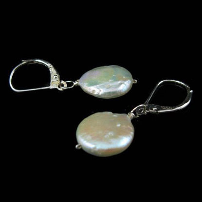925 Sterling Silver Earrings-Single Pearl Coin