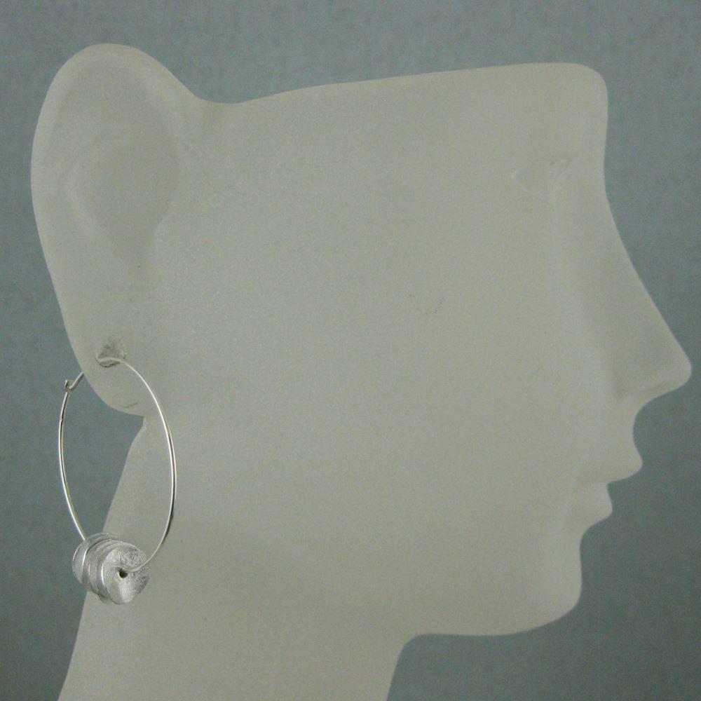 925 Sterling Silver Earrings-Hoops with Wavy Discs