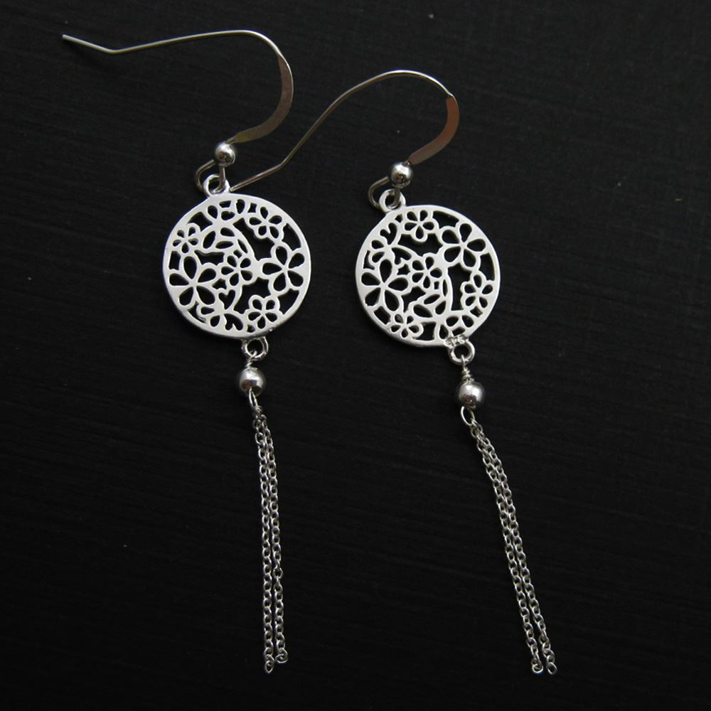 925 Sterling Silver Earrings-Round Flower Connector