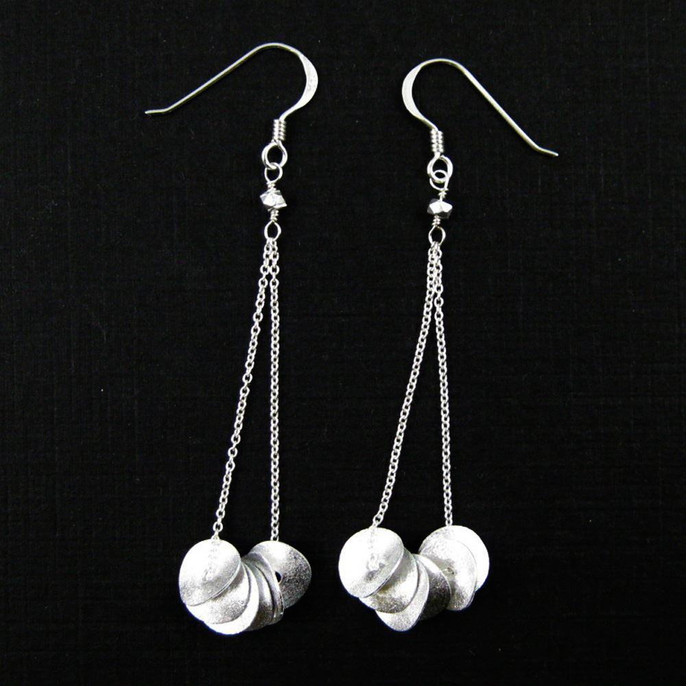 925 Sterling Silver Earrings-Wavy Disc Pendants