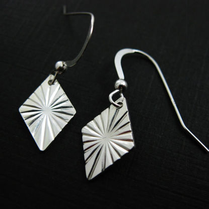 925 Sterling Silver Earrings-Textured Diamond Charm