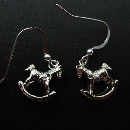 925 Sterling Silver Earrings- Rockinghorse Charm