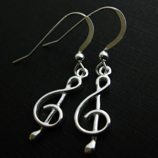 925 Sterling Silver Earrings-Music Note Charm