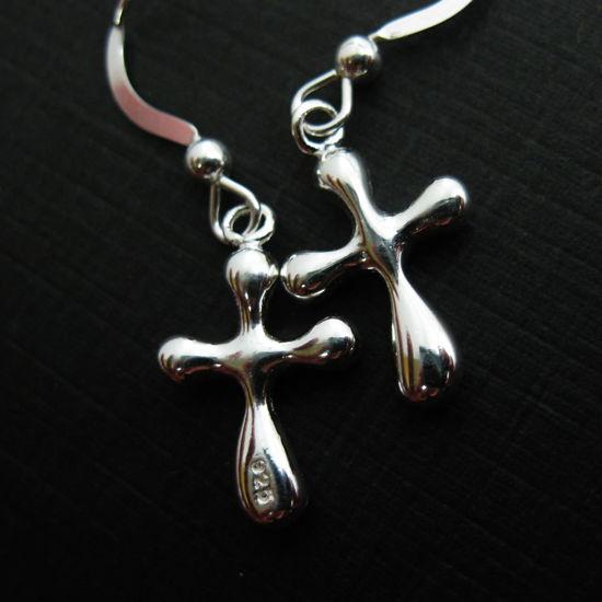 925 Sterling Silver Earrings- Fancy Cross