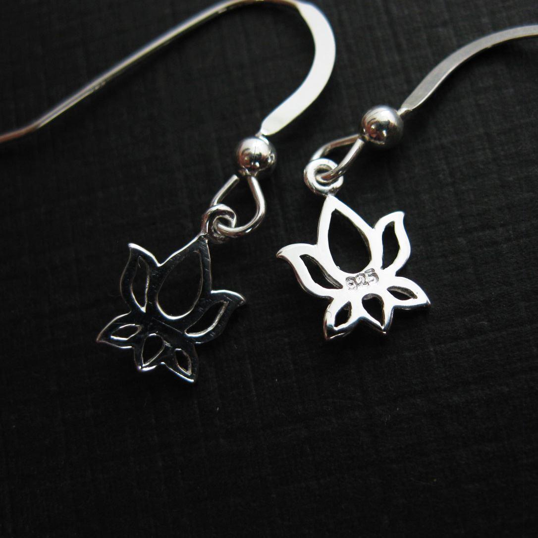 925 Sterling Silver Earrings-Lotus Flower