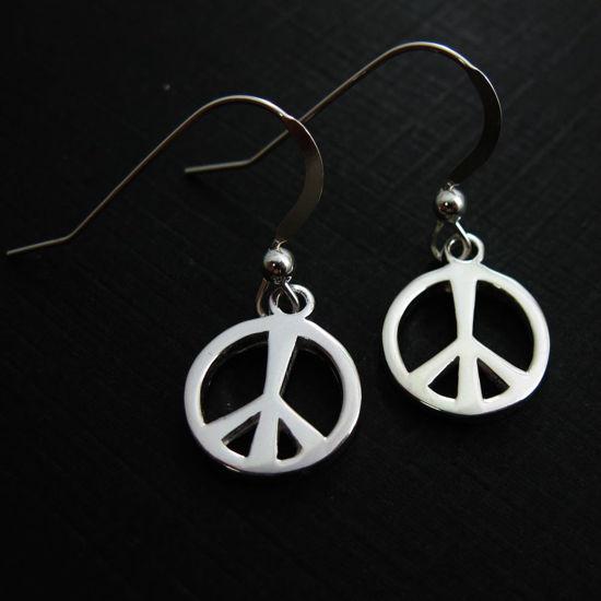 925 Sterling Silver Earrings-Peace Charm