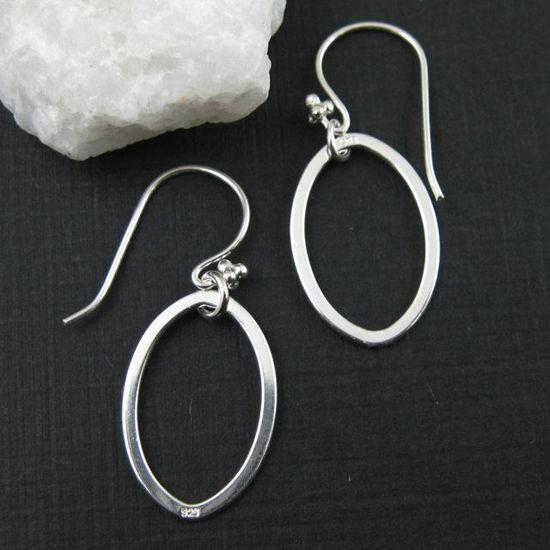 925 Sterling Silver Earrings-Single Oval Charm