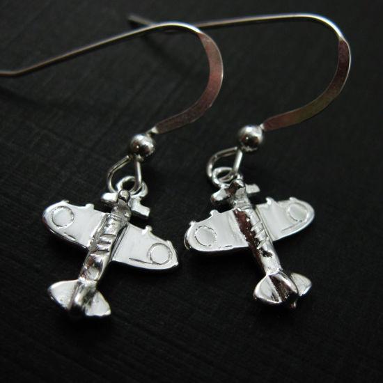 925 Sterling Silver Earrings- Airplane Charm