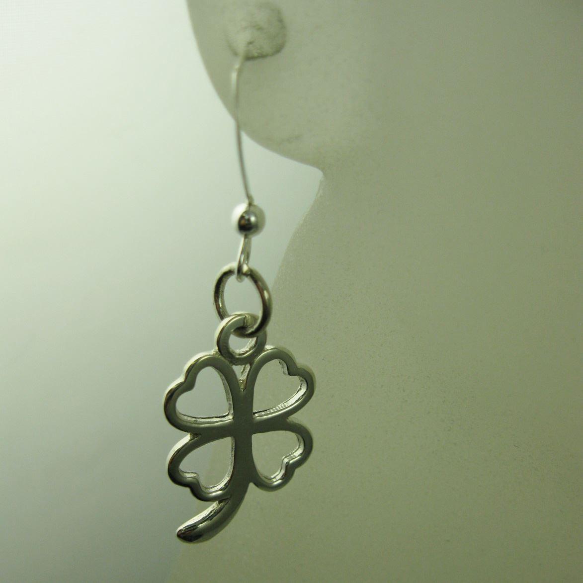 925 Sterling Silver Earrings- Four Leaf Clover