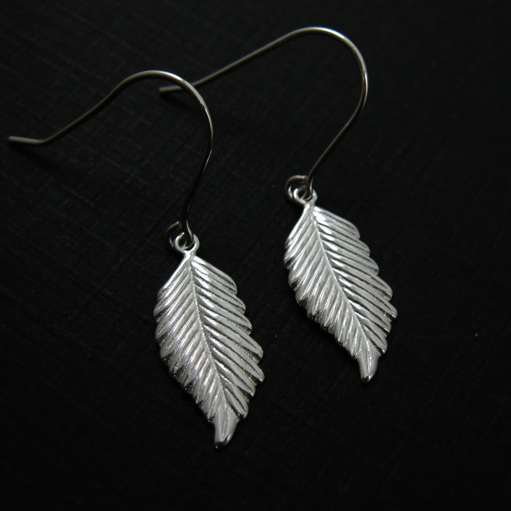 925 Sterling Silver Earrings-Feather Charm