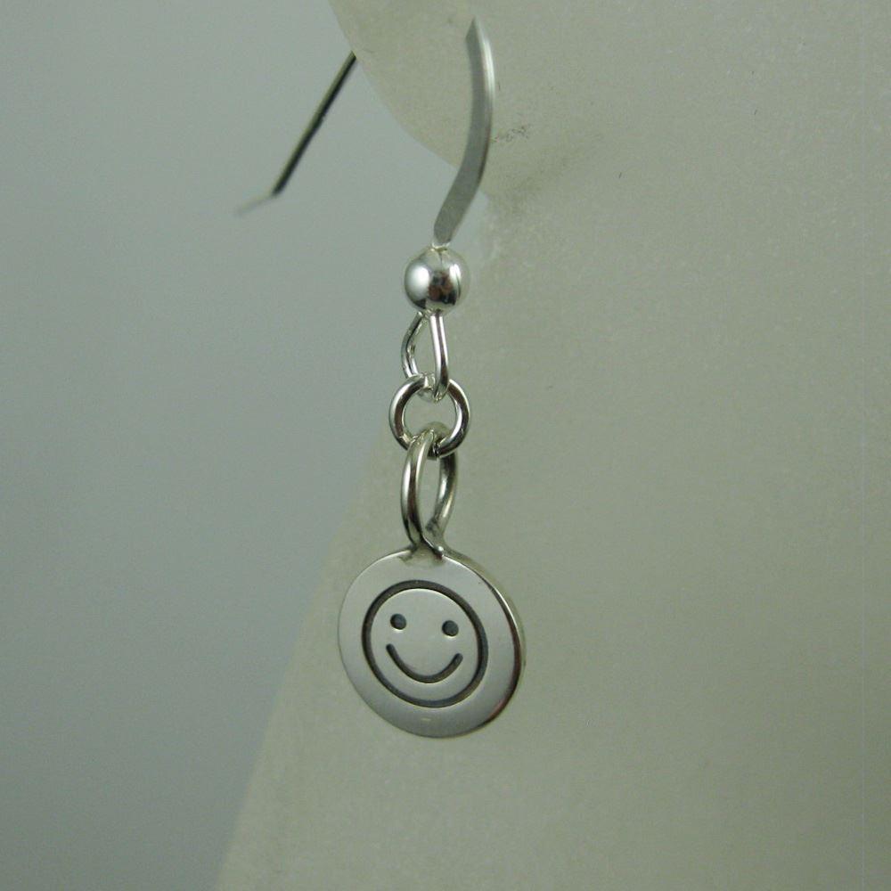 925 Sterling Silver Earrings- Happy Face Charm