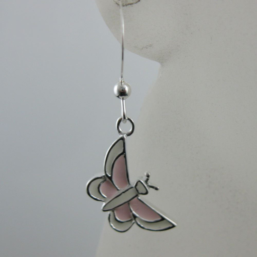 925 Sterling Silver Earrings-White and Pink Butterfly Charm