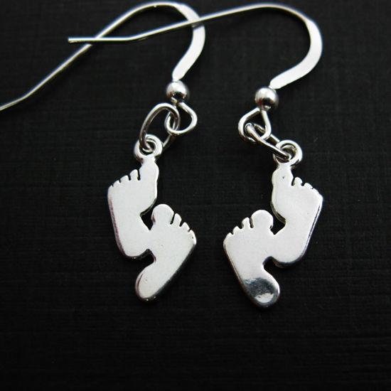 925 Sterling Silver Earrings- Footprints Charm