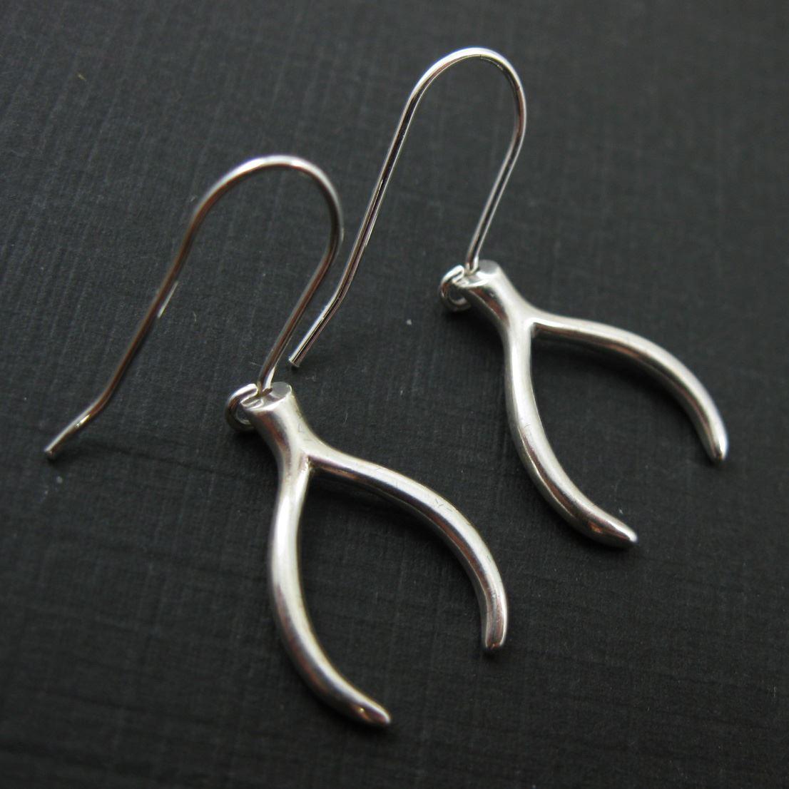 925 Sterling Silver Earrings- Wishbone Charm