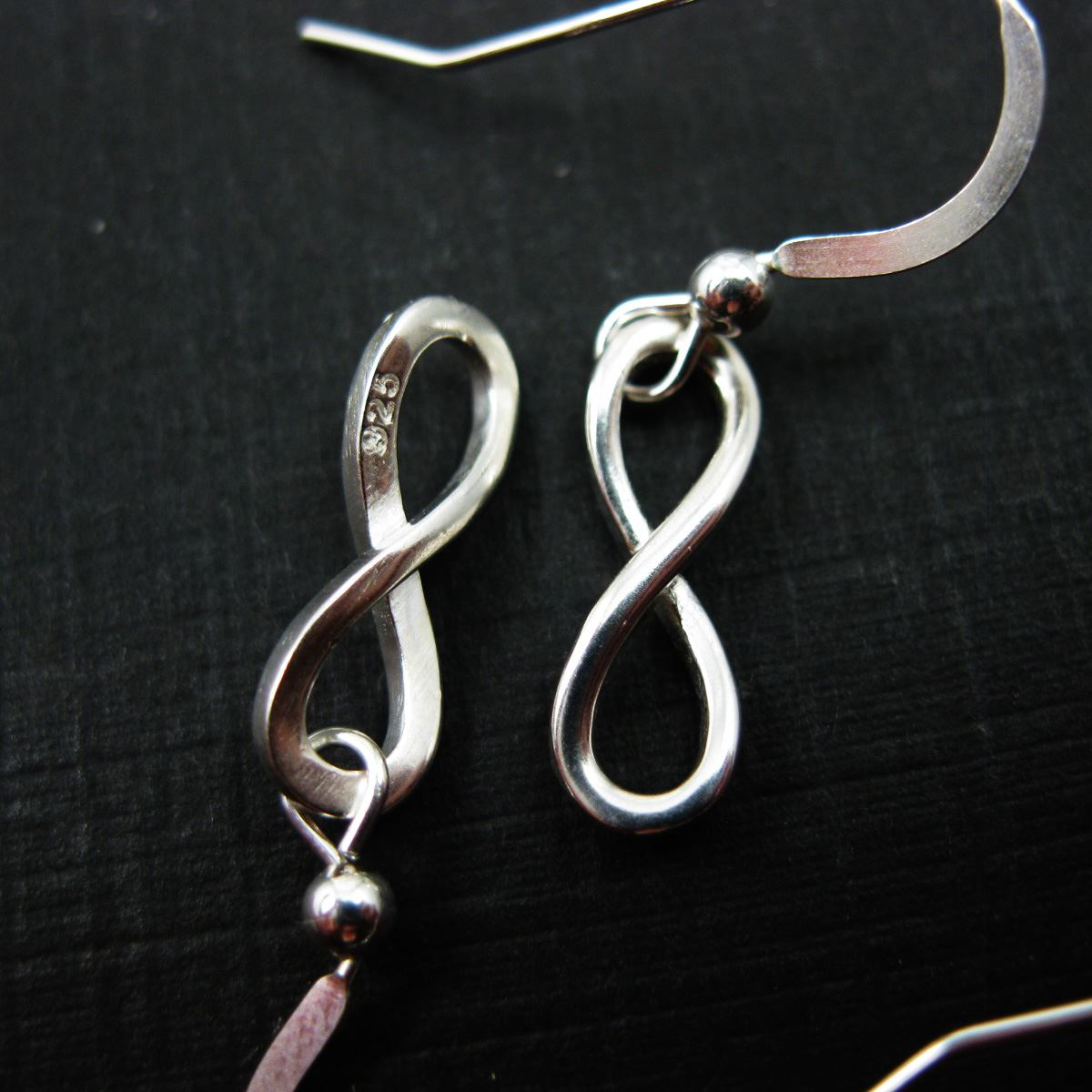 925 Sterling Silver Earrings-Smooth Infinity