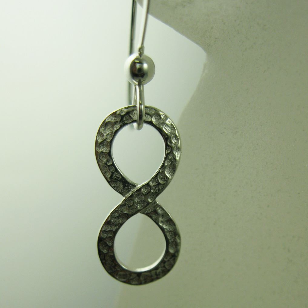 925 Sterling Silver Earrings-Hammered Infinity