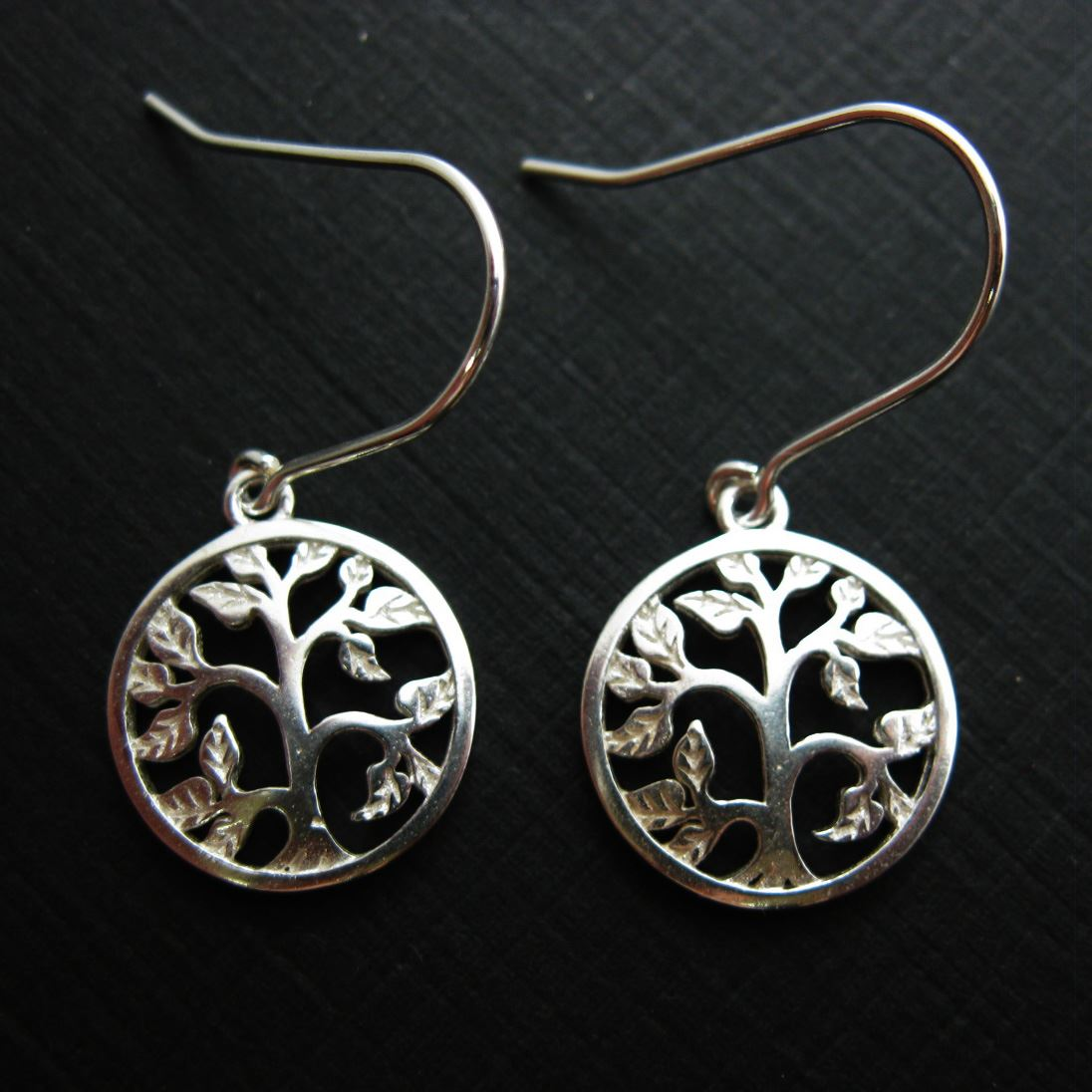 925 Sterling Silver Earrings-Tree with leaves Charm