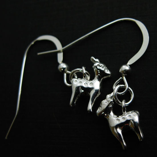 925 Sterling Silver Earrings-Reindeer Charm