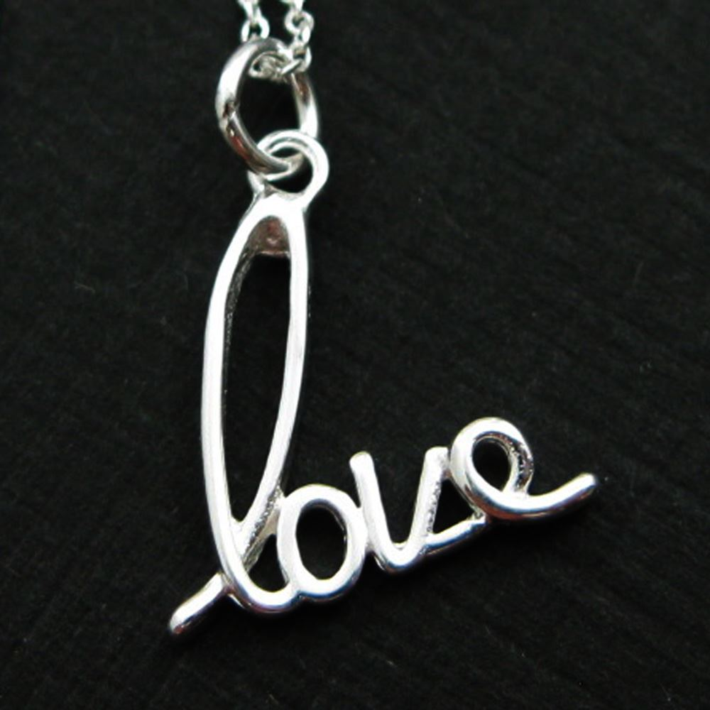 """925 Sterling Silver Necklace - Love (16-24"""")"""