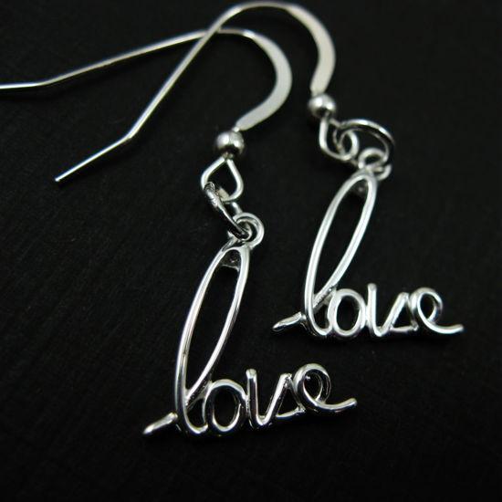 925 Sterling Silver Earrings-Love
