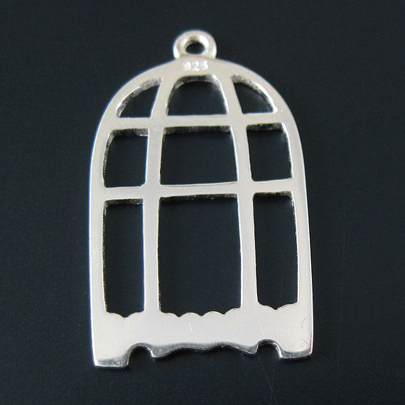925 Sterling Silver Charm - Bird Cage Charm Pendant