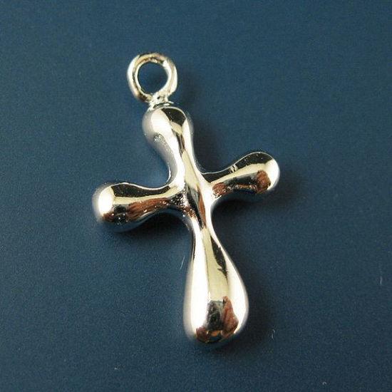 925 Sterling Silver Findings - Fancy Cross Charm ( 18mm by 11 mm )