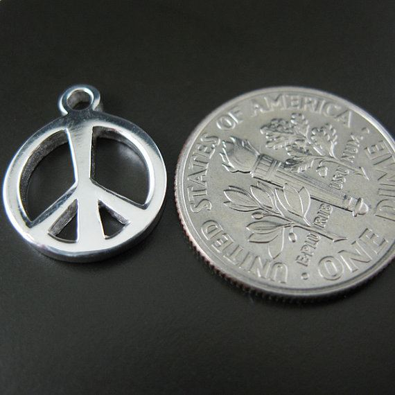 925 Sterling Silver Findings - Thick Peace Charm ( 12 mm )