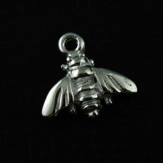 925 Sterling Silver Charm - Tiny Bumblebee Pendant - Findings (9mm)