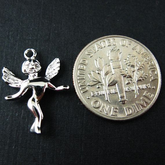 925 Sterling Silver Findings - Angel Charms ( 17mm by 12 mm )
