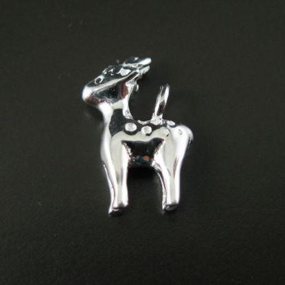 925 Sterling Silver Findings - Cute Little Reindeer Charm ( 13mm by 9 mm )