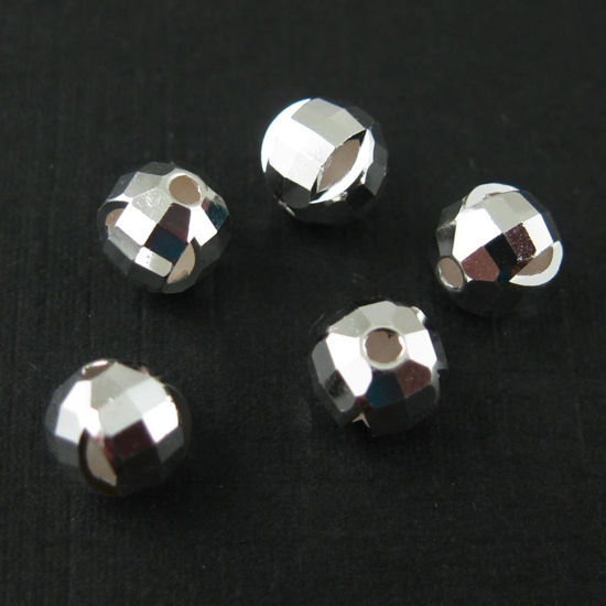 925 Sterling Silver 6mm Faceted Round Bead with Slits (5 pcs)