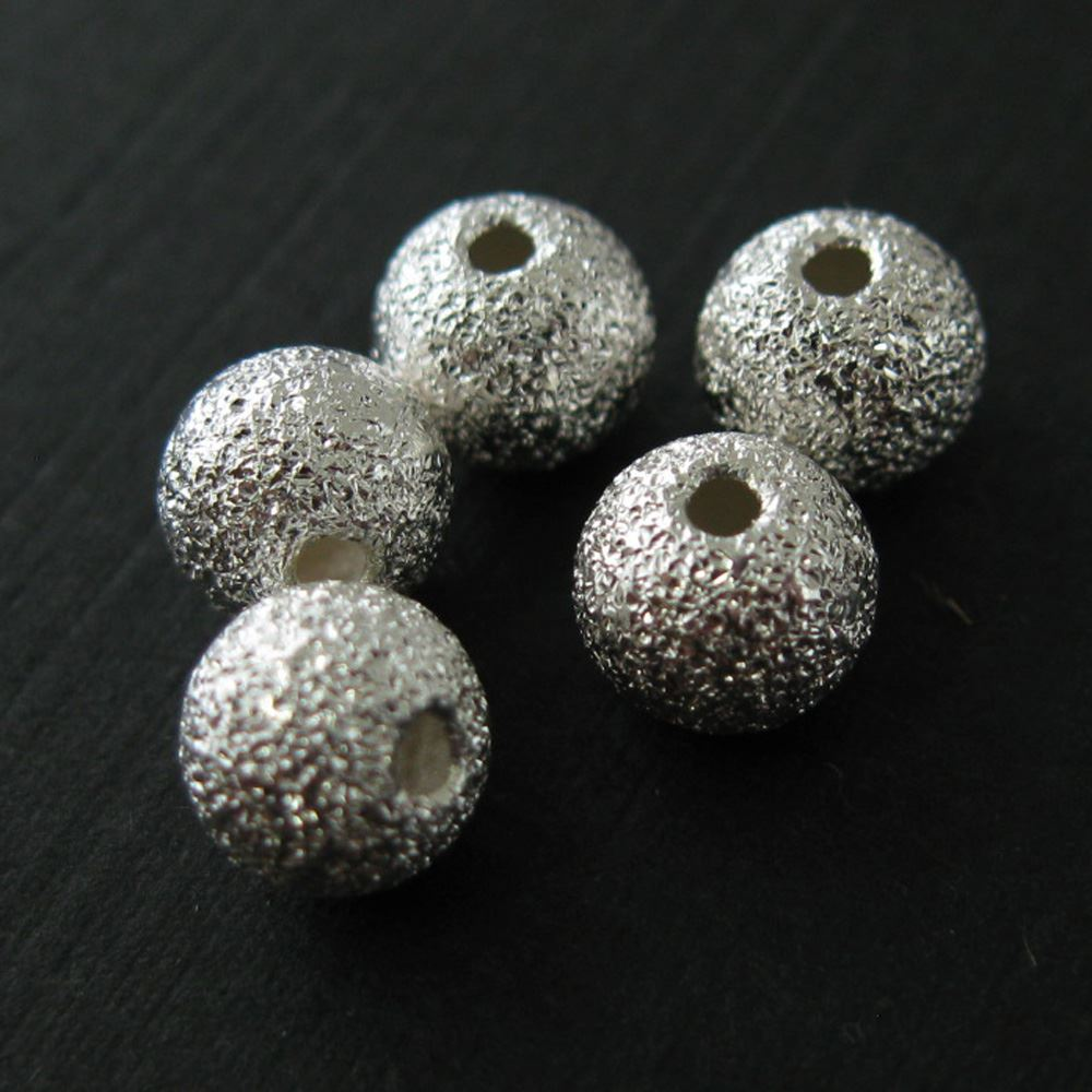 Sterling Silver Findings - Textured Round Bead - 6mm ( 5 pcs)