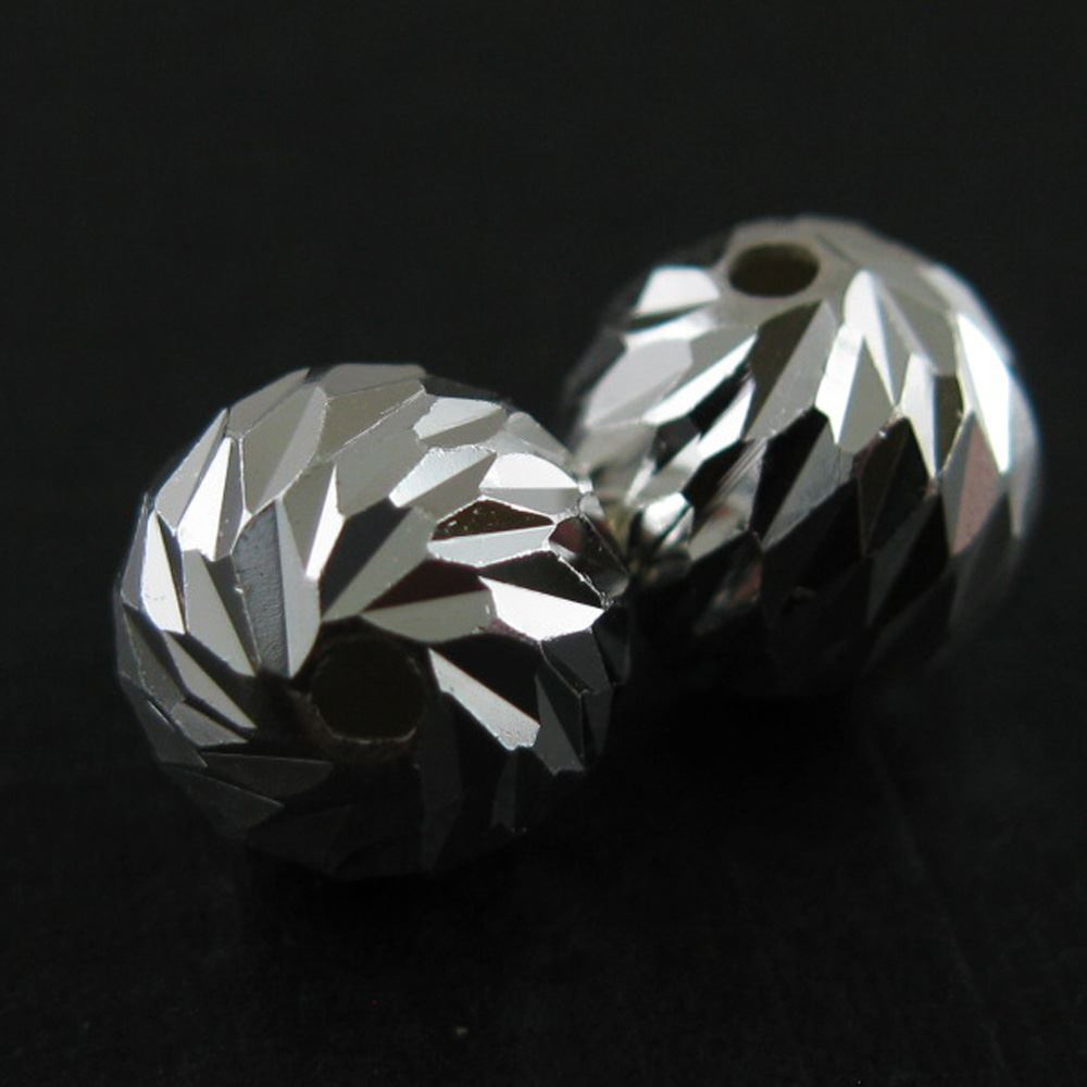 Sterling Silver 8mm Textured Round Beads (Sold Per 2 Pieces)