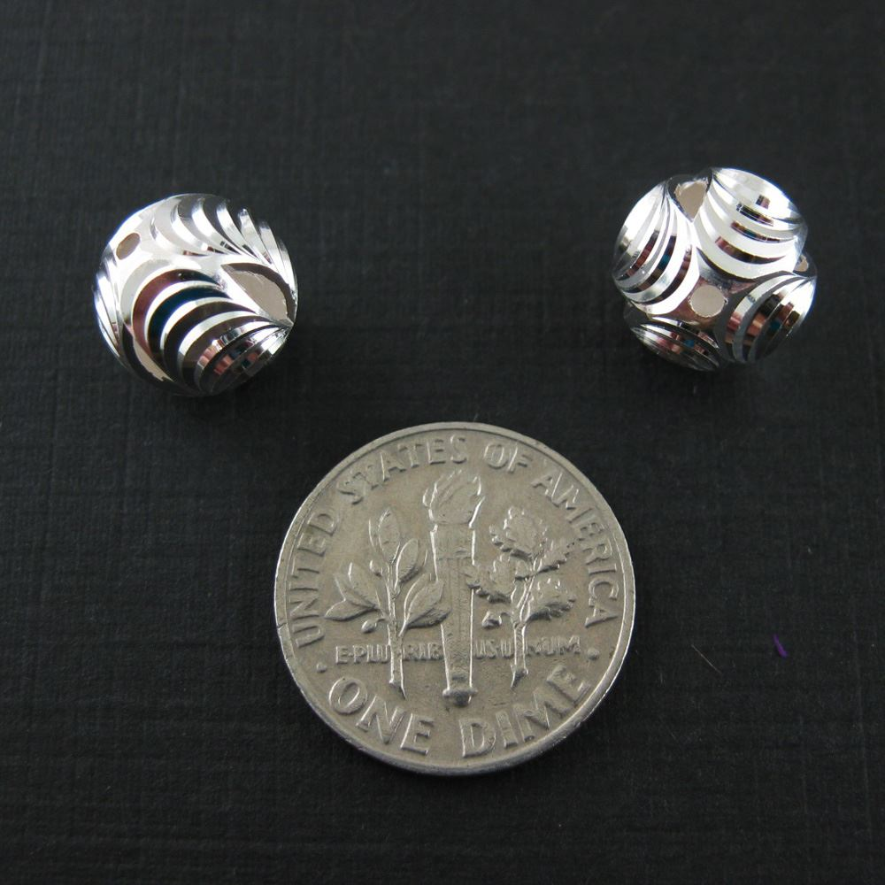 Sterling Silver 10mm Textured Round Bead with Slits (Sold Per 2 Pieces)