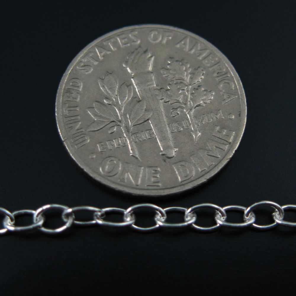 925 Sterling Silver Chain, Unfinished Bulk Chain, Cable Oval, Cable Chain