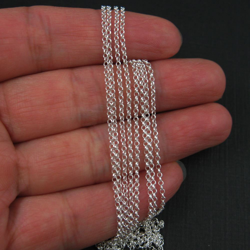Sterling Silver Chain - Rolo Chain-Unfinished Bulk Chain -1mm Rolo Chain