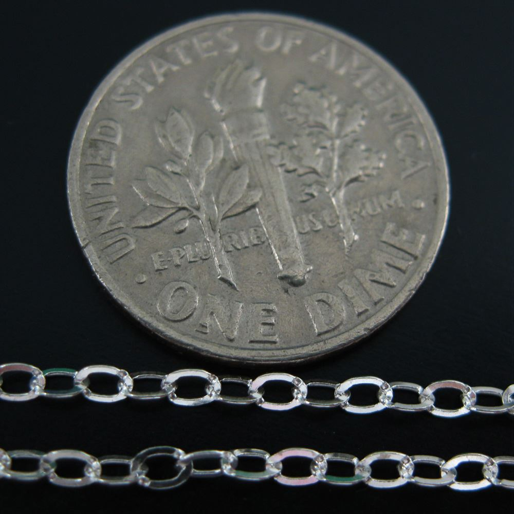 925 Sterling Silver Chain, Unfinished Bulk Chain, Cable Flat Oval, Cable Chain -2.5 by 2mm