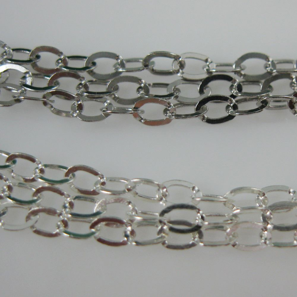 925 Sterling Silver Chain, Unfinished Chain, Cable Flat Oval, Cable Chain -3.5 by 3mm