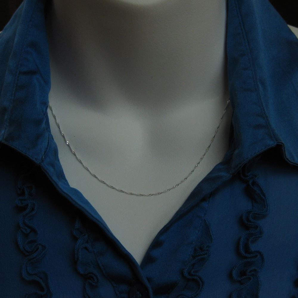Sterling Silver Necklace Chain - 925 Sterling Silver Chain Necklace - Singapore chain -Finished Ready to Wear - 1mm