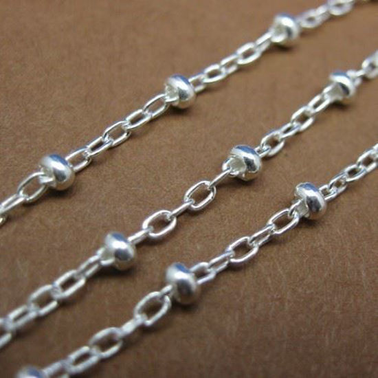 Sterling Silver Chain - Fancy Cable Oval with Ball Chain - Beaded Chain - Satellite Chain - Unfinished Bulk Chain