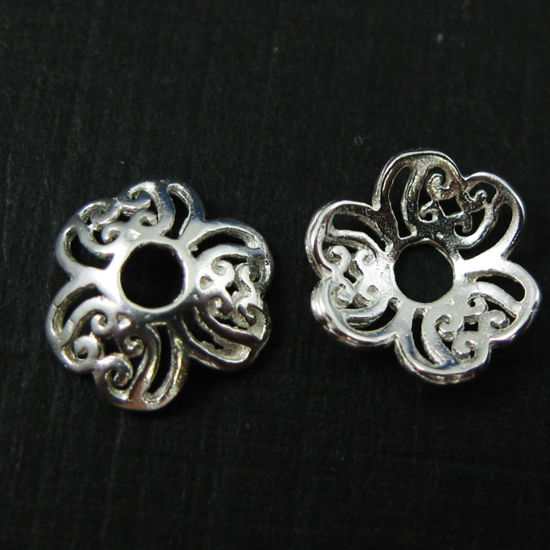 Bead Caps , Solid 925 Sterling Silver - 9mm