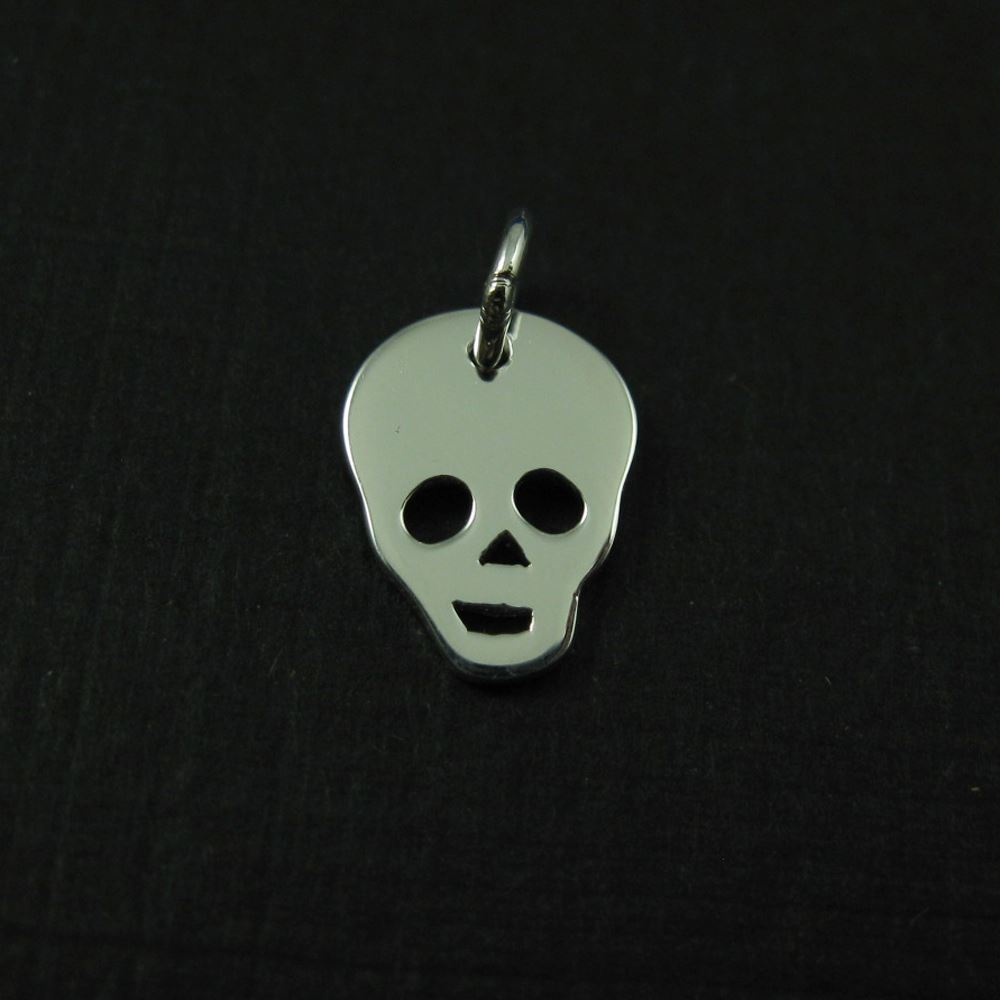 925 Sterling Silver Charm - Skull Charm - 11mm by 9mm