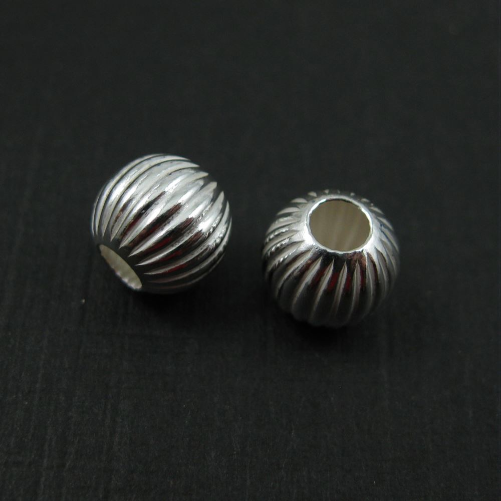 925 Sterling Silver Findings - Textured Round Beads - Spacers - 8mm  ( 2 pcs)