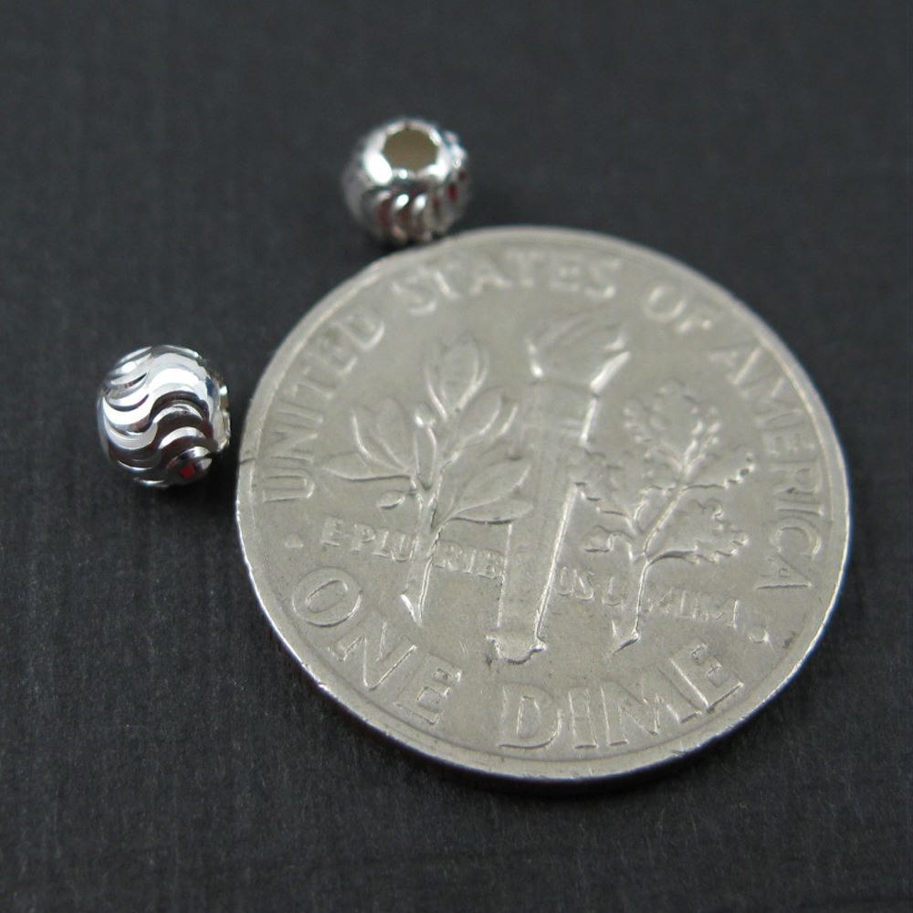 925 Sterling Silver Findings - Swirled Textured Round Beads - Spacers-4mm ( 15 pieces)