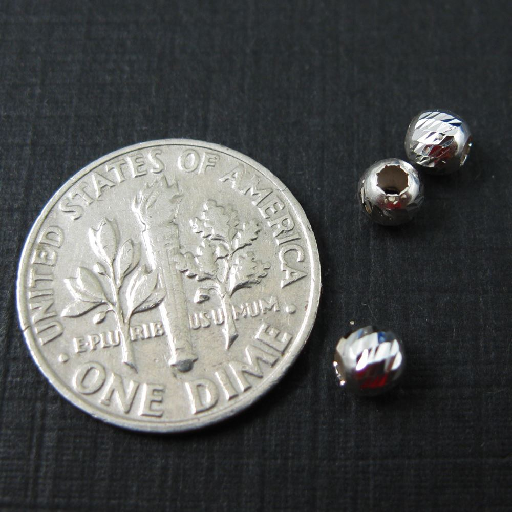 925 Sterling Silver Findings - Finely Detailed Round Beads - Spacers - 4mm ( 20 pieces)
